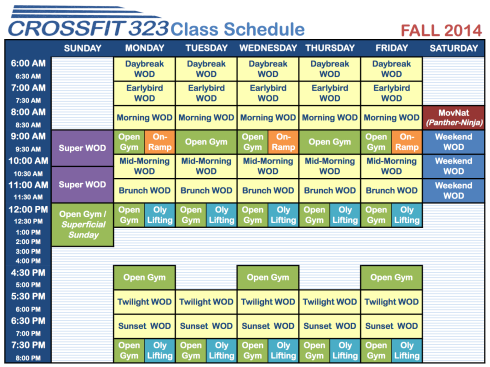 CrossFit323WeeklyScheduleFALL2014
