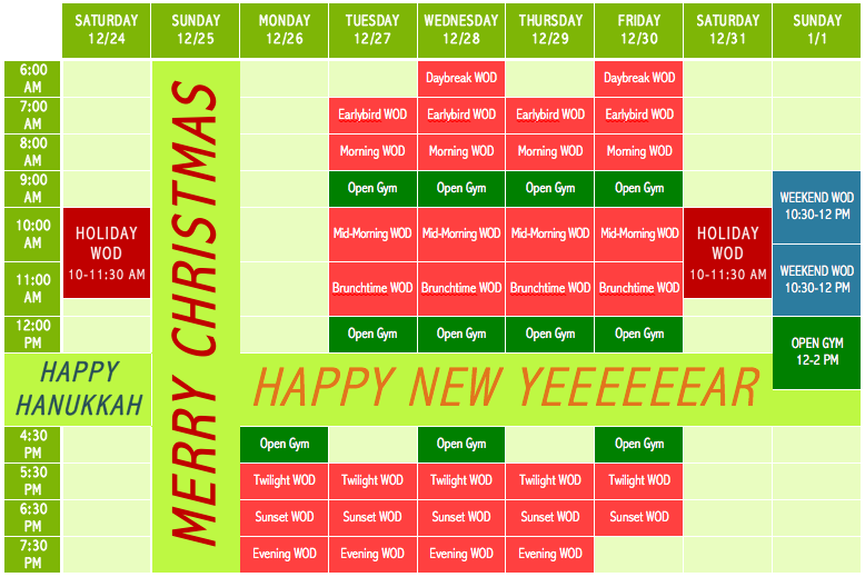 323 Holiday Schedule 2016