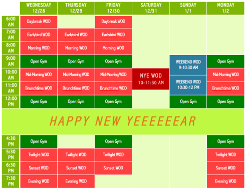 323 Holiday Schedule